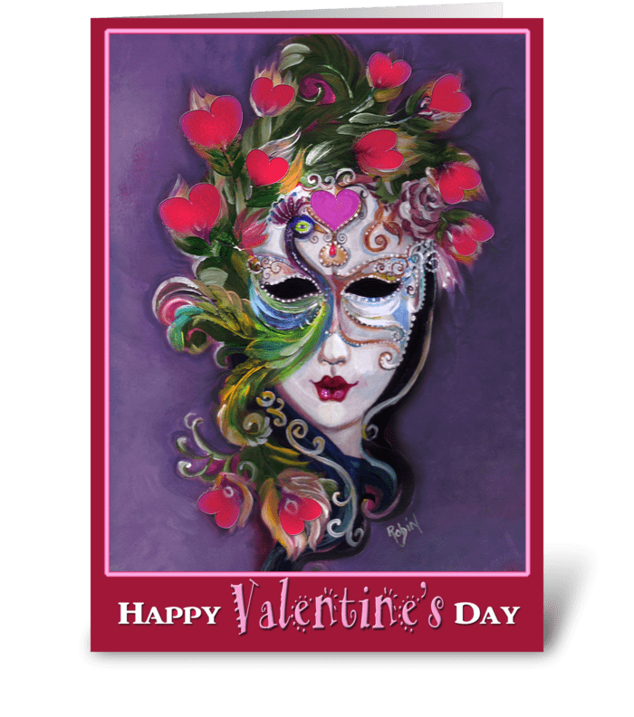 the Colorful Valentine Mask greeting card