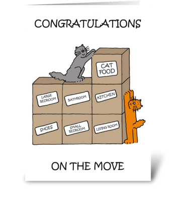 Happy New Home, Cartoon Cats. greeting card
