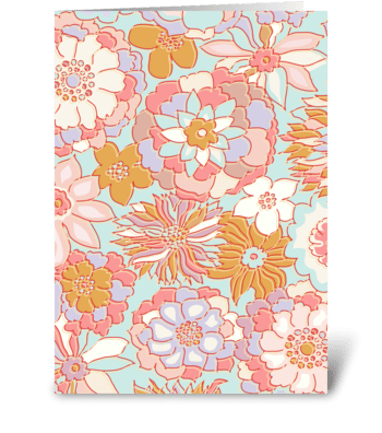 Sweet Retro Flowers greeting card