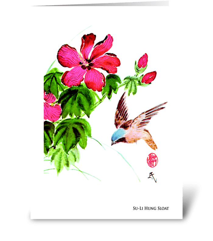 Lively Bird by Su-Li Hung Sloat greeting card