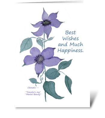 Best Wishes Much Happiness Clematis Card greeting card