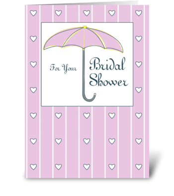 Bridal Shower Pink Umbrella with Hearts greeting card
