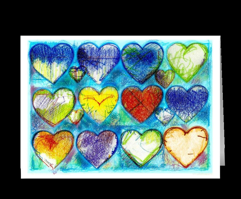 Sixteen Hearts greeting card