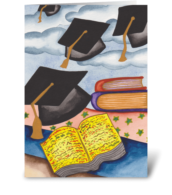 graduation caps greeting card