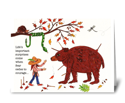 boy and bear greeting card
