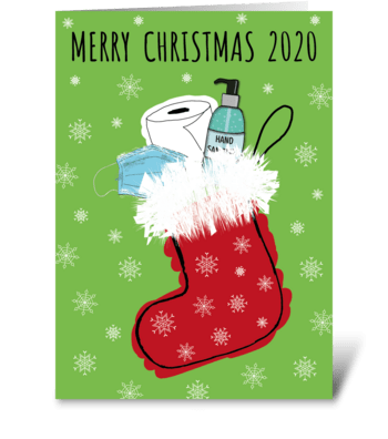 74 Christmas 2020 Stocking greeting card
