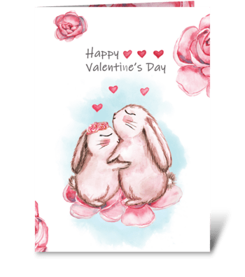 Cute bunnies rabbits hug. Watercolor bun greeting card