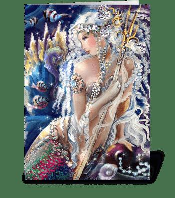 Happy Birthday, Mermaid & Sea Horse ART greeting card