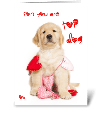 Top Dog Son Valentine Card greeting card
