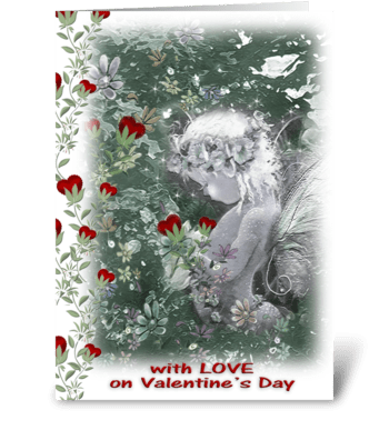 Sending Love, Fairy and Hearts greeting card