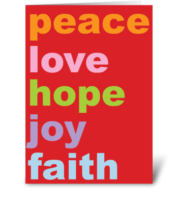peace love hope joy faith greeting card