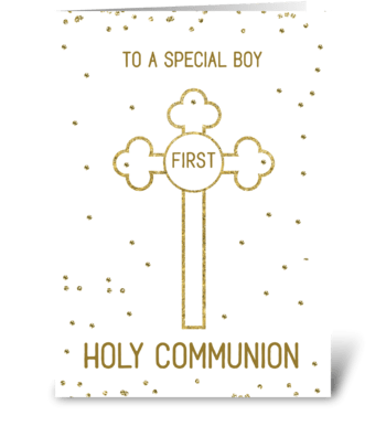 Boy First Holy Communion Gold Look Cross greeting card