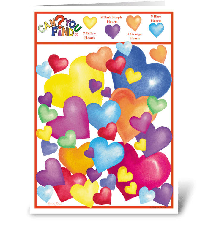 Valentine Hearts Activity Card greeting card