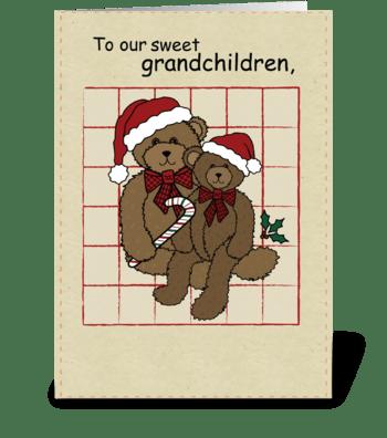 Grandchildren Christmas Bears greeting card
