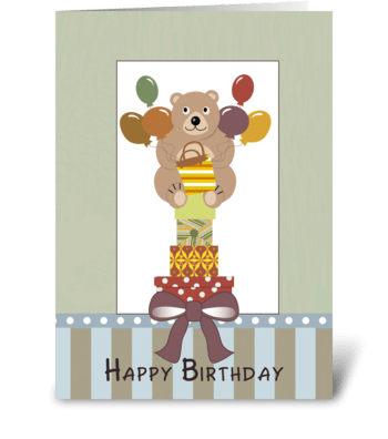 Happy Birthday Bear and Stacked Gifts greeting card