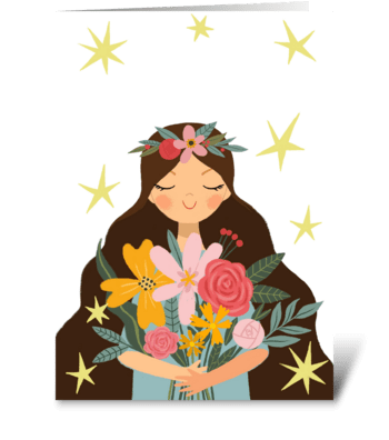 Cute girl with flowers and stars. greeting card