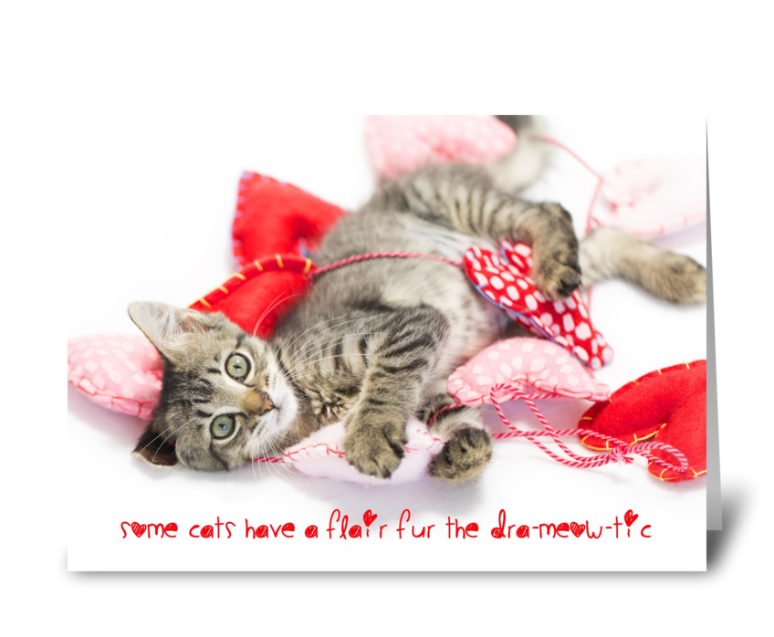 Dramatic cat Valentine greeting card