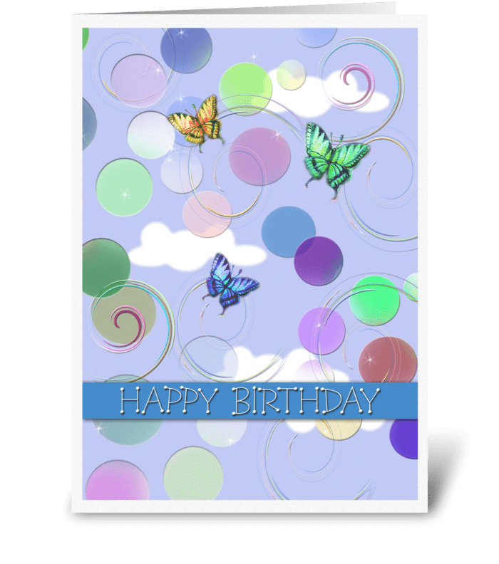 Swirls of Happy Birthday greeting card