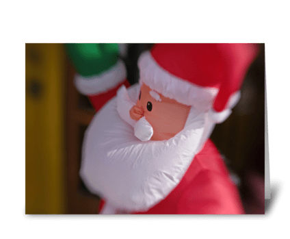 Inflated Santa Claus greeting card