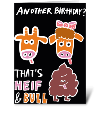 Heif & Bull Crap greeting card