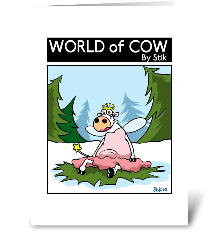 Cow Christmas Fairy greeting card