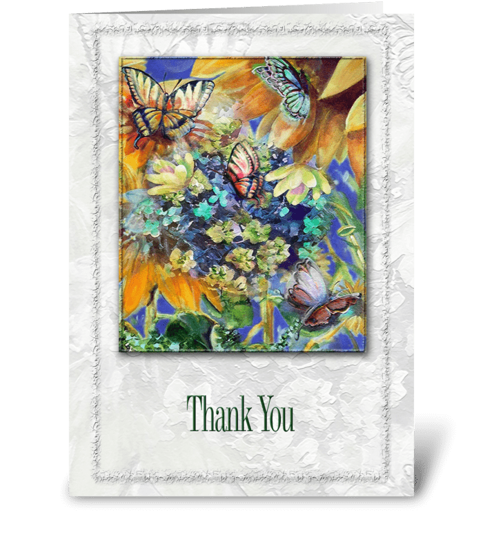 Butterflies and Florals,Thank you greeting card