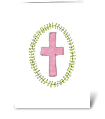 pink cross greeting card