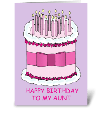 Happy Birthday to Aunt, Cake and Candles greeting card