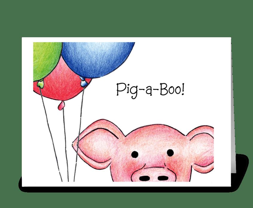 Pig-a-Boo! greeting card