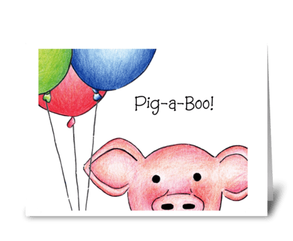 Pig-a-Boo! greeting card