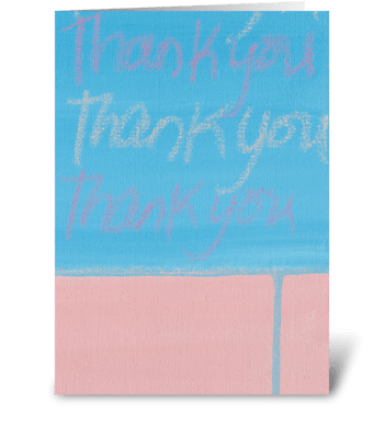 Thank You Painting - Blue on Pink greeting card