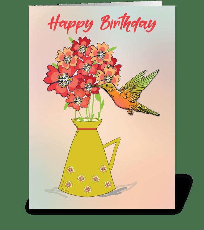 Hummingbird on Flower Wonder-filled Bday greeting card