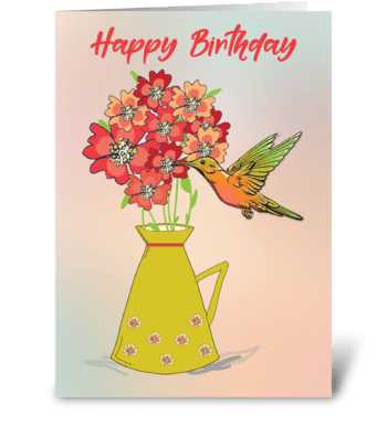 Hummingbird on Flower Wonder-filled Bday greeting card