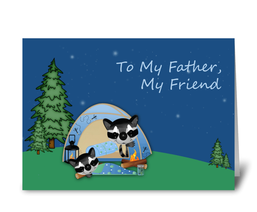 Father's Day, Racoons Camping greeting card