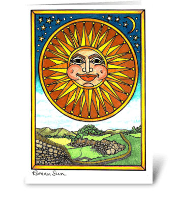 Roman Sun greeting card