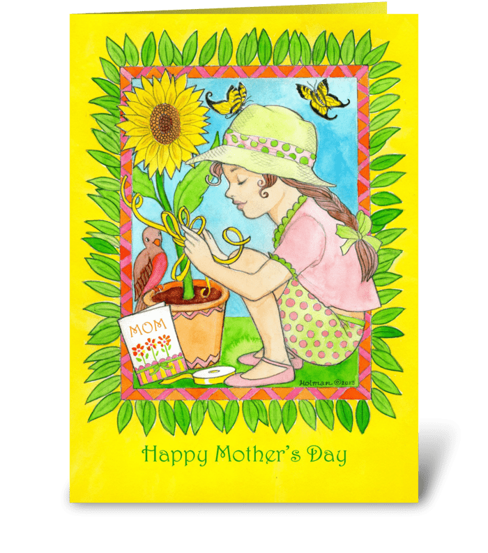 Mother's Day Sunflower, Bird & Girl greeting card