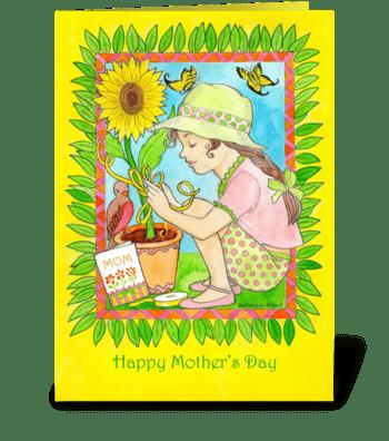 Mother's Day Sunflower, Bird & Girl greeting card