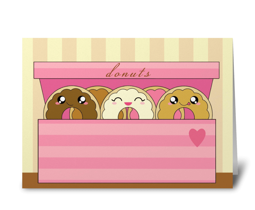 Donuts in a box greeting card