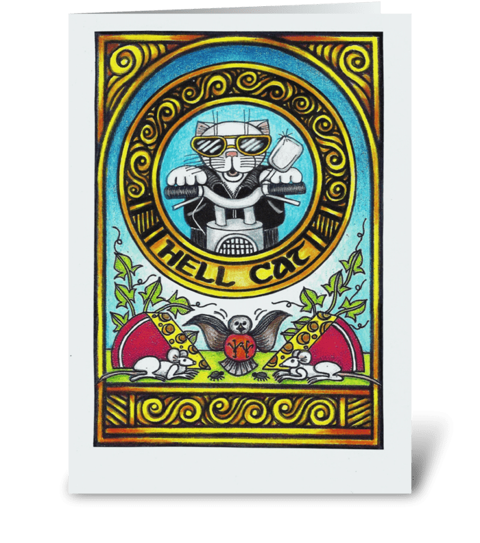Hell Cat greeting card