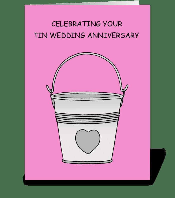 Tin Wedding Anniversary, 10 Years. greeting card