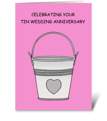 Tin Wedding Anniversary, 10 Years. greeting card