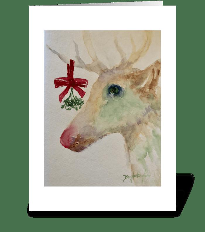 Mistletoe and Reindeer Kisses greeting card