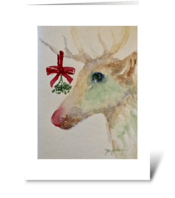Mistletoe and Reindeer Kisses greeting card