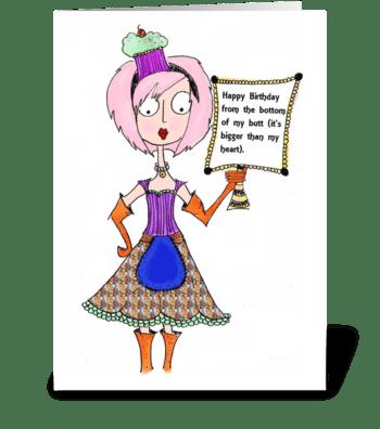 Birthday Bottom greeting card