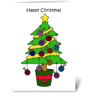 Happy Christmas Knitting Tree. greeting card