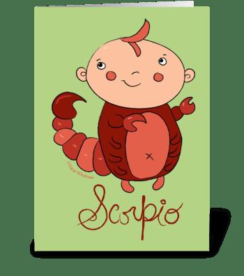 Little Scorpio greeting card