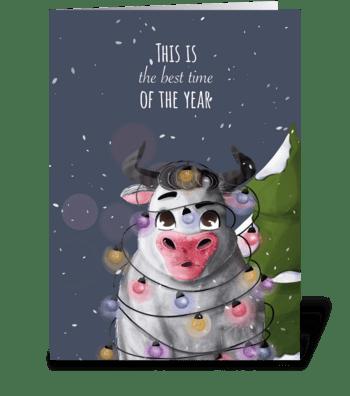 Bull and garland greeting card