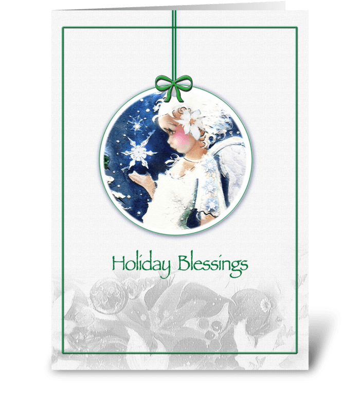 Holiday Blessings, Angel Ornament greeting card