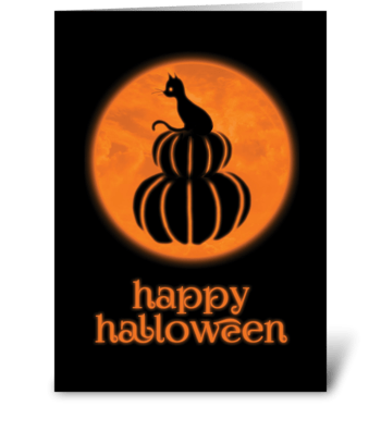 Happy Halloween Cat & Pumpkin Card greeting card