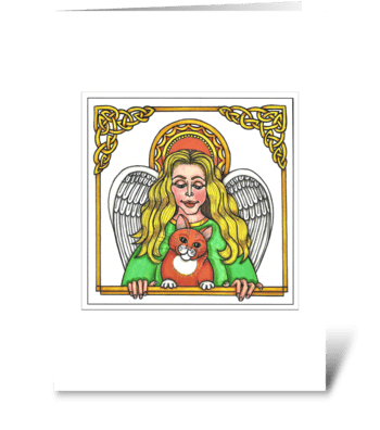 GUARDIAN ANGEL OF NINE LIVES greeting card